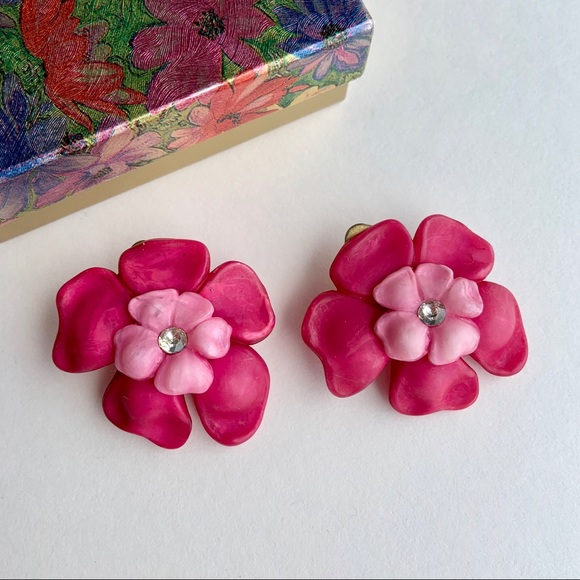 Pink flower power clip-on earrings